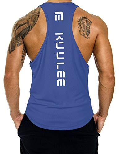 KUULEE Herren Gym Stringer Fitness Tank Top Herren Funktionelle Sport Bekleidung Bodybuilding T-Shirt Trainingsshirt ärmellos Weste Muskelshirt (Verpackung MEHRWEG), Blau, XXL / 42