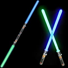✅ REALISTIC: 2-in-1 LED Light Up Swords Each Measuring 29-inches. Your kids will have an absolute blast playing with these glow in the dark swords. ✅ EPIC BATTLE: Bright glowing blades with realistic battle sound effects. Kids and adults alike will e...