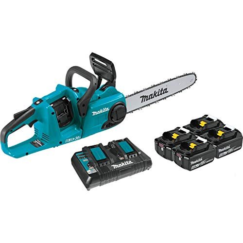 Makita XCU03PT1 18V X2 (36V) LXT Lithium-Ion Brushless Cordless 14' Chain Saw Kit with, 4 Batteries...