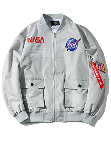 Wildswan Men Biker Bomber Jacket, NASA MA-1 Military Flight Jacket Light Air Force Moto Street Coat Winter B4051, Grey, XX-Large