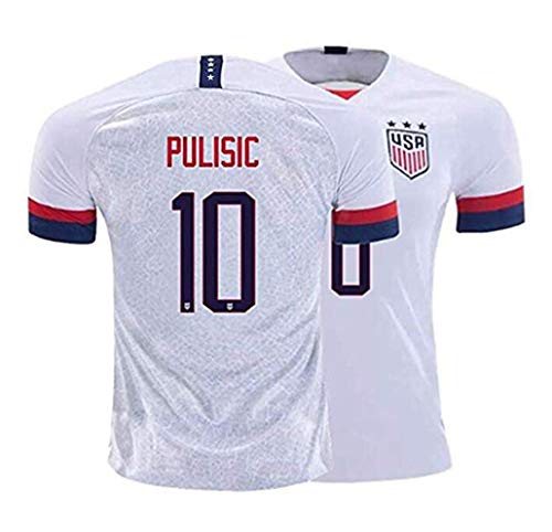 haobeibei 2019/2020 4 Star USA Team 10 Pulisic Soccer Home Mens Jersey T-Shirts Color White XL
