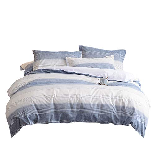 UMI. Essentials 100% Cotton Yarn Dyed Duvet Cover Set with One Pillow Case,155x220+1x80x80cm