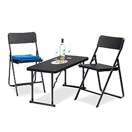 Relaxdays, Noir Meubles de Jardin Set 3 Pièces Pliant 1 Table Hauteur Réglable 2 Chaises Rotin 74x100x43,5cm…