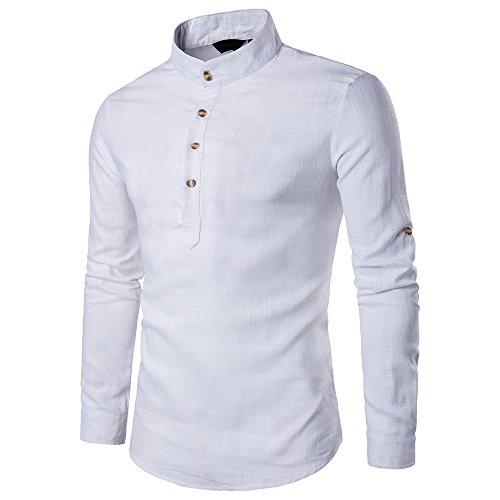 UJUNAOR Oktoberfest Männer Stehkragen Langarm Täglich Tops Bluse Baumwollmischung Solide Shirt(Weiß,CN M)