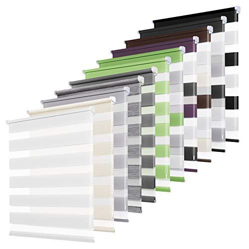 bobodeco Doppelrollo klemmfix ohne Bohren Duo Rollos für Fenster mit Klämmträger, lichtdurchlässig & verdunkelnd Wandmontage Sichtschutz- Weiss,80x120cm(BxH)