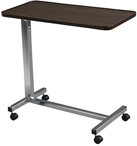 Drive Medical Non Tilt Top Overbed Table, Silver Vein
