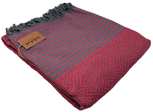 Bella Casa KELIM LUX Tagesdecke Bettüberwurf Überwurf Plaid Baumwolle 205x260 cm (Pfirsich)
