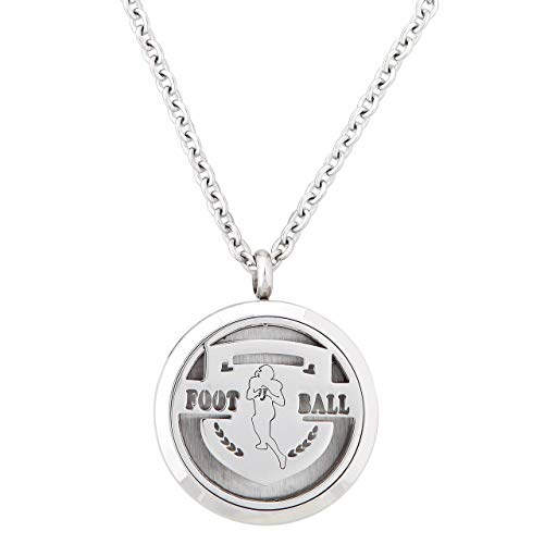 Aromatherapy Essential Oil Diffuser Pendant Necklace for Football Fans with 20