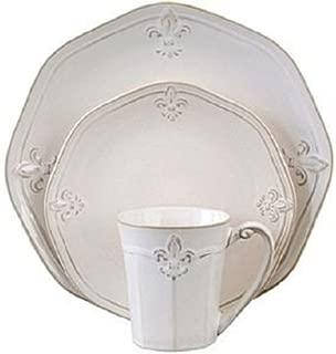 Cream Fluted Crest 16 Piece Stoneware Dinnerware Set Service for 4