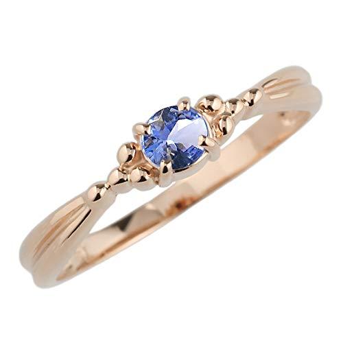 (リュイール) 指輪 レディース 人気 タンザナイト リング 人気 2月 リング 一粒 カラーストーン 指輪 誕生石シンプル 10金 k10ピンクゴールド サイズ 3.5号