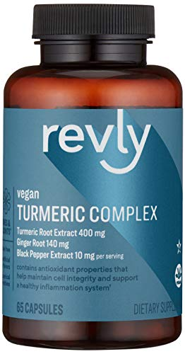 Amazon Brand - Revly Vegan Turmeric Complex with Ginger and Black Pepper - Joint & Immune System, Health Inflammation Response - 65 Capsules (2 Month Supply)