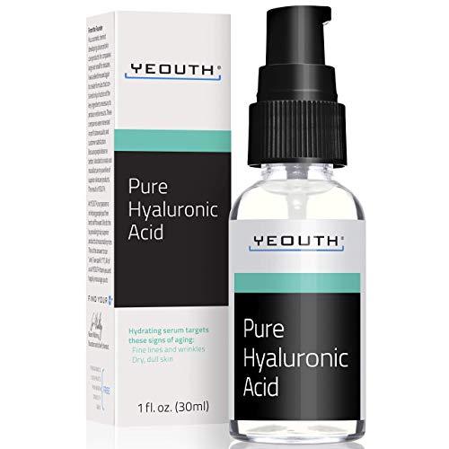 Sérum pour le visage à l'acide hyaluronique de YEOUTH - Formule pure anti-âge ! - Hydratant naturel (1oz)