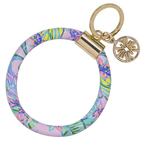 Lilly Pulitzer Purple Leatherette Round Key Ring Chain, Mermaid in the Shade