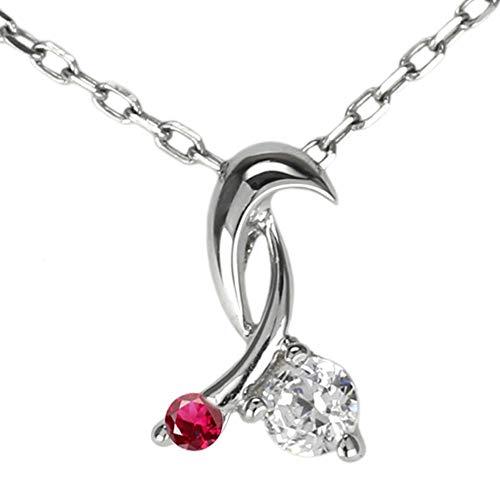 (リュイール)ネックレス レディース 人気 さくらんぼ ダイヤモンド ルビー 7月誕生石 10金 k10ピンクゴールド 可愛い チェリー 誕生石 ペンダント