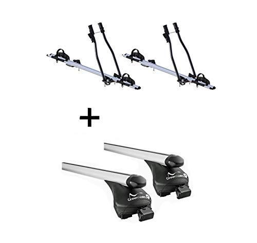 VDP 2X Fahrradträger SAGITTAR + Relingträger Quick L kompatibel mit Hyundai ix35 2010-2014