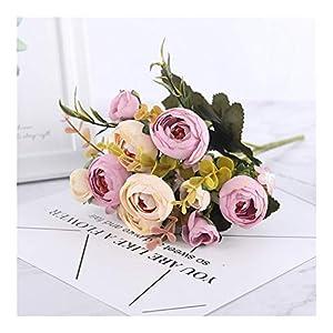 Silk Flower Arrangements WDSFT Silk DIY Daisy Camellia Artificial Flowers Small Rose Bride Bouquet Xmas Party Decor Faux Fake Flowers Wedding Home Decoration