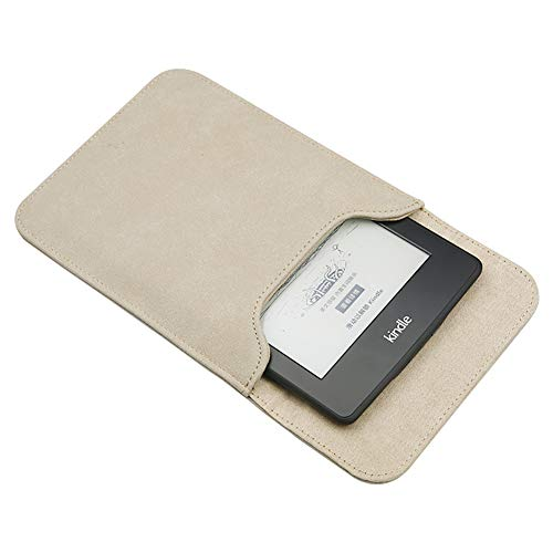 Emoly Leather Kindle Sleeve for Kindle Paperwhite 7'' E-Reader - Protective Insert Sleeve Case Cover Bag Fits Kindle Paperwhite 10th Generation 2019 / 9th Generation 2017, Khaki