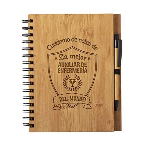Cuaderno de Notas la Mejor Auxiliar de Enfermeria del Mundo - Libreta de Madera Natural con Boligrafo Regalo Original Tamaño A5