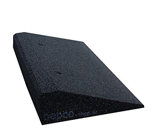 bepco Bordsteinkanten-Rampe aus Gummifasern (schwarz) - Auffahrrampe - Türschwellenrampe mit eingelagerten Unterlegscheiben zur Befestigung (50 x 25 x 8 cm)