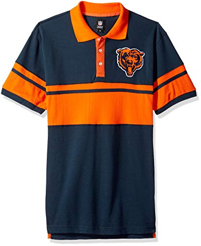 NFL Chicago Bears Football Team Logo Cotton Stripe Polo Shirt, Team Color, Medium