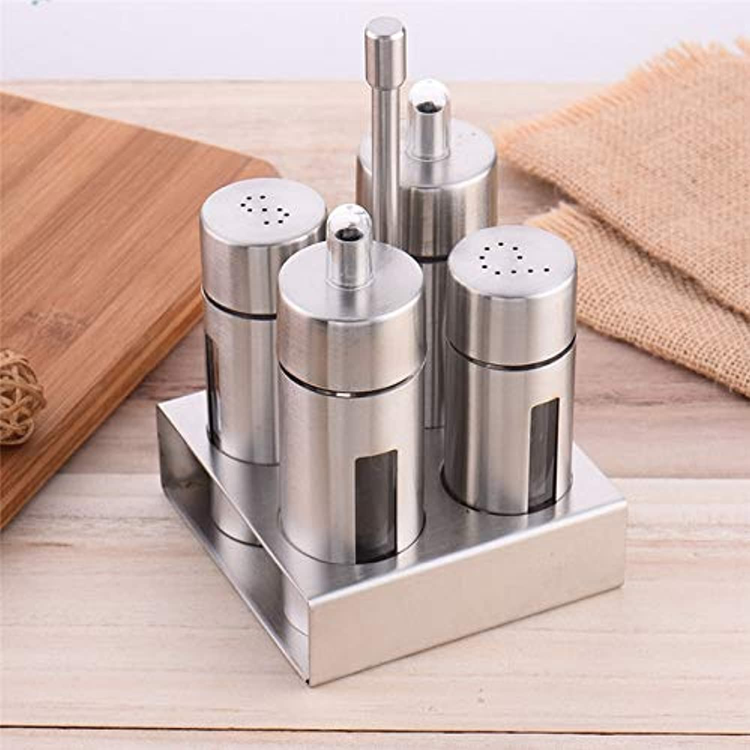 Farmerly 1 Set Spice Pepper Shakers Sugar Salt Condiment Tins Oil Bottle Stainless Steel Seasoning Storage Kitchen Cooking Barbecue Tools   B