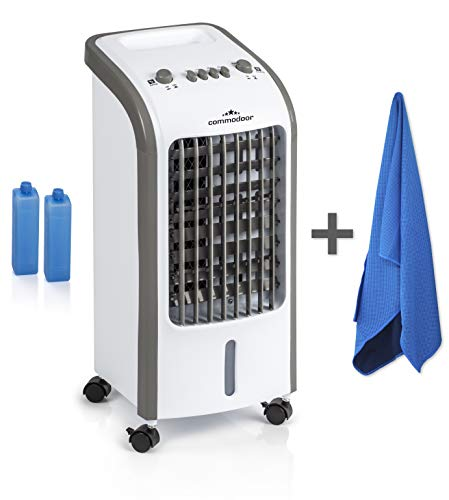 Commodoor Kühllüfter + Gratis Eistuch I 3 Geschwindigkeitsstufen I Klimagerät mobil I Luftkühler 57cm I Air Cooler I Evaporative Cooler I Kühlgerät 62W I Luftkühler Wohnung