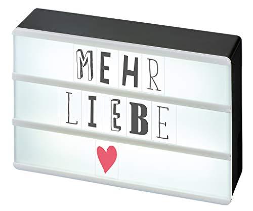 moses. 63105, Happy me LED Lichtbox mit Mini-USB-Anschluss | inkl. 120 Buchstaben, Ziffern und Symbolen, Plastik, Schwarz, 10.5 x 15.0 x 4.0 cm