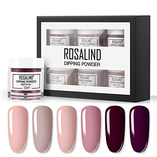 ROSALIND Nail Dipping Powder Dip Pulver,Pink Nagel Acryl-Pigmentpulver für French Nail Art Keine Notwendigkeit Lampe Glitzerpuder Nagel Dekoration 10g