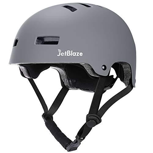 JetBlaze Skateboard Helmet, Skate Helmet, Climbing Helmet, Bicycle Helmet, Inline Skating Helmet for Kids, Youth, Women, Men (Gray, M)