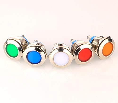 Gebildet 5pcs 19mm 220V-230V Edelstahl Wasserdicht LED-Kontrollleuchte Schraubklemmen in 5 Farben Rot/Orange/Blau/Grün/Weiß