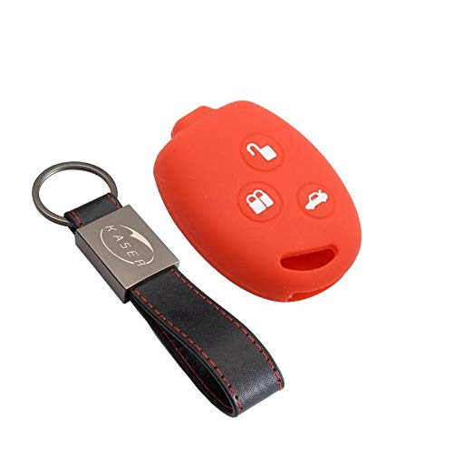 kaser Funda Silicona para Ford – Carcasa Llaveros 3 Botones para Coche KA Fiesta Focus Galaxy Fusion S-MAX Kuga Ecosport Cover Case Protección Remoto Mando Auto (Rojo)