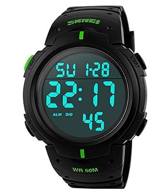 Men's Digital Sports Watch LED Screen Large Face Military Waterproof Casual Luminous Army Watch Black