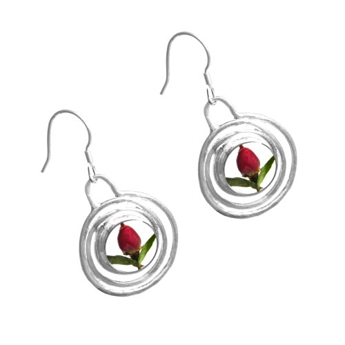 Sterling Silver drop earrings with real roses - Spiral + free giftbox