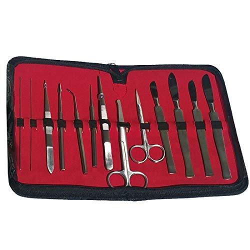 Präparier Sezier-Besteck, im Etui gefüllt mit 13 chirurgischen Instrumenten
