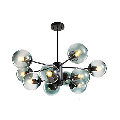 HJW Luces Decorativas Oro Moderno Ajustable Ajustable Sputnik Lighting Lighting, E27 Rama de la Sala de Estar Techo Luces de Araña con Vidrio Azul Lámpara de Pantalla para Comedor Dormitorio,Negro,10