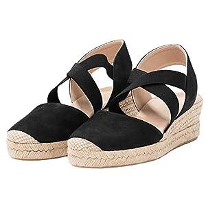 Womens Criss Cross Espadrille Platform Wedge Elastic Strappy Mid Heel Sandals