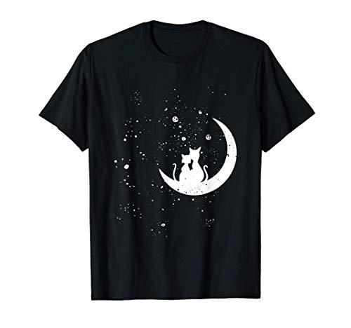Chats regardant les étoiles motif romantique chat galaxie T-Shirt