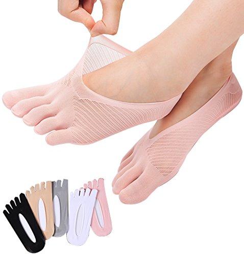 REKYO 5 Paare Frauen Zehen Socken fünf Finger Socken weich und atmungsaktiv Low-Cut Ankle Socks Seidenstrümpfe für Mädchen, Frauen (mischen-5)