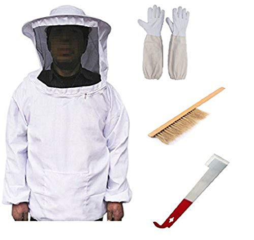 LORJE Beekeeping Bee Keeping Suit Jacket&Gloves& Bee Hive Brush & J Hook Hive Tool Set