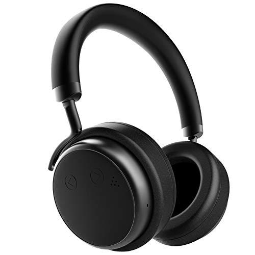 Bluetooth Kopfhörer Kabellos Noise Cancelling - XSOUND H5D mit Voller Lederausstattung Integiertes Mikrofon Over Ear Headsets 24 dB Noise Cancelling Kopfhoerer 20 Std Spielzeit - Schwarz