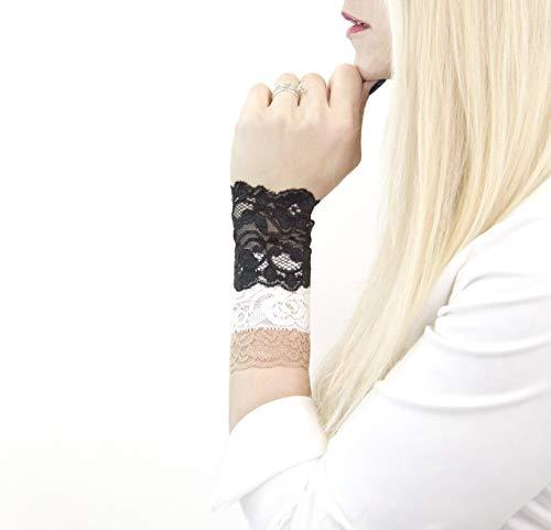 Set of 3- Short Lace Wrist Cuff Stretch Bracelets (Black Floral/Tan/White)