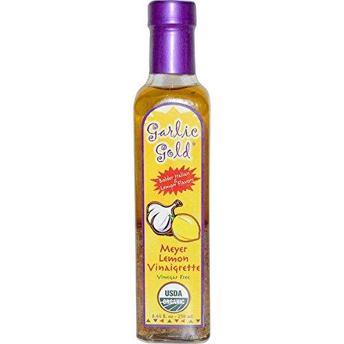 Garlic Gold, Delicious Organic Meyer Lemon & Extra Virgin Olive Oil Vinaigrette Salad Dressing and Marinade - Soy Free, Canola free, Sugar free, KETO & Paleo friendly, glass bottle 8.44 oz