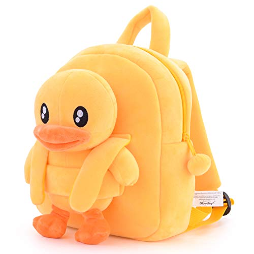 Gloveleya Girls Backpack Kids Backpack for Girls Gifts with Plush Duck Toy Yellow 9 Inches