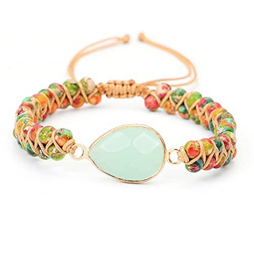JAOYU Gemstone Bracelet for Women Healing Crystal Natural Stone Bracelet Double Layer 4mm Beaded Boho Jewellery with Adjustable Braided Rope