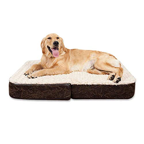 LZC Plush Donut Pet Bed, Pet Dog Bed Sponge Folding Bed Sofa Pet Mattress Pillow Cushion Removable and Washable 100x80x12cm Brown