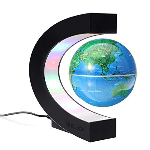 MECO 3'' Magnetic Levitation Floating Globe Funny C Shape World Map with Colored LED Light Touch Switch Anti Gravity Globe for Children Christmas Gift Home Office Desk Decoration