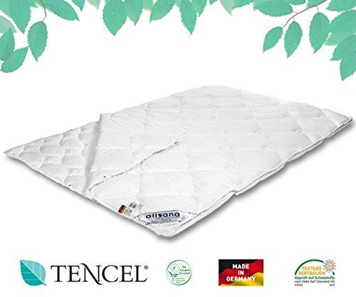 allsana Tencel® Klimafaser 4- Jahreszeiten Steppbett 135x200 cm, Lyocell Bettdecke für Allergiker, waschbar bei 60°C, Tenceldecke 2-teilig knöpfbar bei Allergie