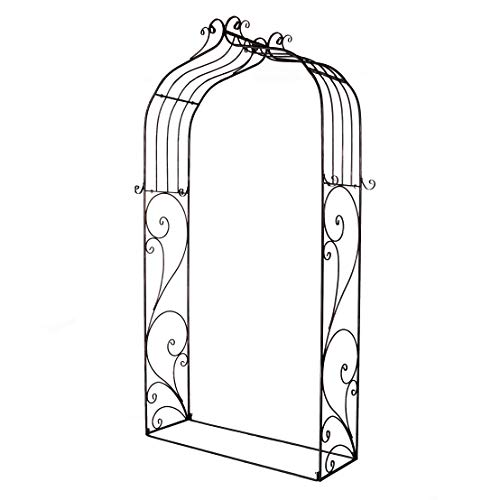 OUTOUR Classical French Style Garden Arch with Hook, 7'6'High x 4'5'Wide, Garden Arbor Arbour Archway for Climbing Plants Roses Vines, Outdoor Garden Lawn Backyard Patio, Antique Copper