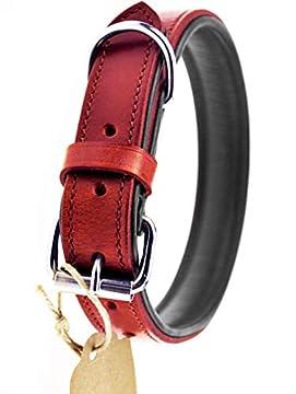 ✅ HANDGENÄHTES, ECHTES RINDSLEDER - das hochwertige, echte Leder wird sorgfältig ausgewählt und das Hundehalsband individuell von Hand genäht ✅ ELEGANT UND ROBUST ZUGLEICH - die Kombination von rotem Außen- und schwarzem Innenleder macht das Lederhal...