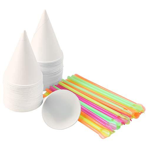 Ruisita 150 Pieces 6 OZ Snow Cone Cups with Spoon Straws